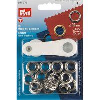 Set ocheti de 11 mm, cu dispozitiv de atasare, argintii, 15 buc, Prym, 541370